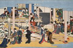 吉原を脅かすほどの人気を集めた、江戸随一の芸者街を舞台に描いた、喜多川歌麿の肉筆画の大作「深川の雪」。遊女や芸者らの自由でくつろいだ雰囲気と粋な風情の秘密に迫る。