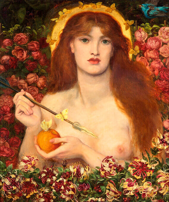 Dante Gabriel Rossetti, Venus Verticordia, 1864-68, Oil on canvas on loan from Russell-Cotes Art Gallery & Museum,Bournemouth, BORGM 0189